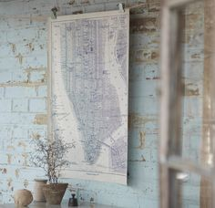 A poster of an old-fashioned Manhattan map.