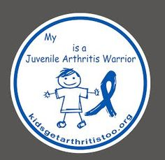 "5x5 adhesive decal that allows you customize with words such as ""Child"", ""Daughter"", ""Friend"". Blank space provided for you to add any word with a sharpie or permanent marker. No better way to help spread awareness of Juvenile Arthritis than by placing this decal on the back of your vehicle window, work space cubicle, refrigerator or any place that offers visibility to those around you. Adhesive is not permanent and can be removed from glass by ..."