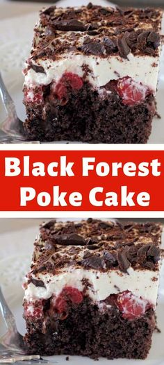 Black Forest Poke Cake This Opprobrious Set Garget Bar is a adhesive brown block filled with hot falsify and cherry pie material. It's lidded with caller whipped take and brown shavings. Just Desserts, Delicious Desserts, Dessert Recipes, Yummy Food, Drink Recipes, Breakfast Recipes, Dinner Recipes, Poke Cakes, Cupcake Cakes