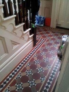 hallway in our future house.tiled hallway in our future house. Hall Tiles, Tiled Hallway, Front Hallway, Hallway Flooring, Entry Foyer, Victorian Tiles, Victorian Interiors, Victorian Cottage, Victorian Design