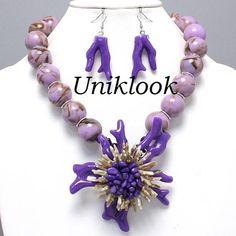 Art Deco PURPLE Coral Reef Flower Bead Acrylic Jewelry Bib Necklace Earrings Set $28.99