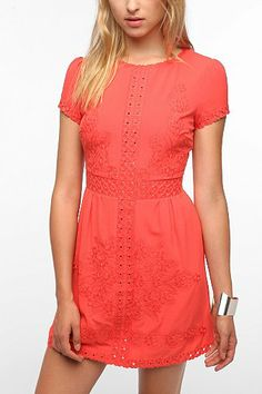 Staring at Stars Embroidered Crepe Dynasty Dress - Urban Outfitters