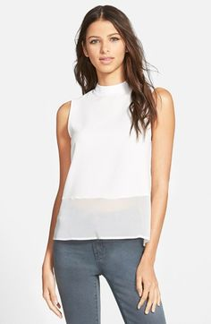 Free shipping and returns on 4SI3NNA Mock Neck Sheer Hem Top at Nordstrom.com. A sleeveless mock-neck tank features a sheer high/low hem finished with a split in back.