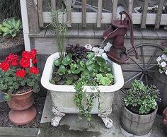 tub with water pump flower planter