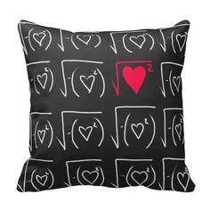 Math geek romance: find real love throw pillows.