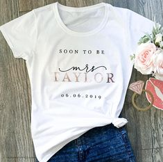 Rose Gold Bride shirt Bride Gift Soon to be Mrs Personalised shirt Bride To Be Gift Engagement Gift Custom Shirt Womens clothing - Engagment Shirts Funny - Ideas of Engagment Shirts Funny - Rose Gold Bride shirt Bride Gift Soon to be Mrs Mrs Shirt, Wedding Gifts For Bride, Bride Gifts, Gifts For The Bride, Wedding Ideas, Bride To Be Presents, Personalised Wedding Gifts, Rustic Wedding, Wedding Venues