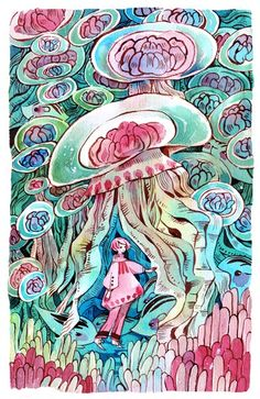 Jellyfish and sea uribo  watercolour + 140lb paper  5th new print for AN