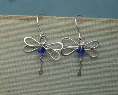 Dragonfly Earrings With Sapphire Blue Glass by nicholasandfelice