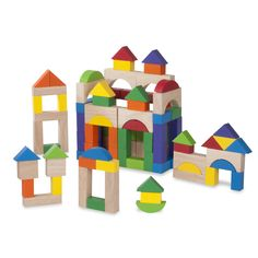 The Wonderworld 100-piece wooden blocks set comes with blocks in many shapes and colors, great for a child of any age. This versatile set will provide your child with hours of entertaining playtime.