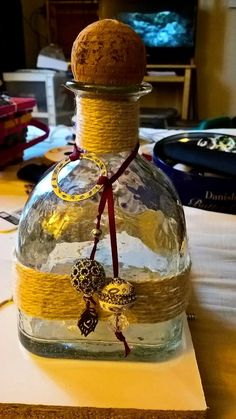Patron bottle crafts. Twine
