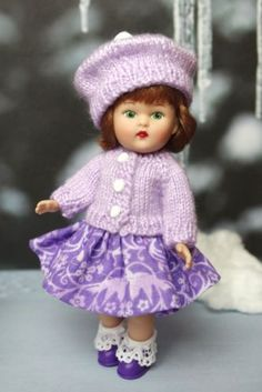 """*SNoWFLaKeS and SuGaRPLuMS* Handknit Sweater,Skirt,& Hat for 5.5""""Mini Ginny DoLLs Only ONE Made and at my ebay now!"""