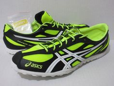 ASICS GEL HYPER-XC Mens Spikes Running Sz.13 Electric Lemon/Wht/Onyx  G211N-0501 #Asics