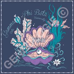 Geneologie | Greek Tee Shirts | Greek Tanks | Custom Apparel Design | Custom Greek Apparel | Sorority Tee Shirts | Sorority Tanks | Sorority Shirt Designs  | Sorority Shirt Ideas | Greek Life | Hand Drawn | Sorority | Sisterhood | Gamma Phi Beta | GPB | Under the Sea | Nautical | Pearl | Clam | Recruitment | Bid Day