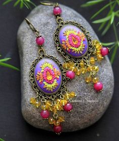 Golden Yellow Color, Bright Purple, Amber Color, Polymer Clay Earrings, Bead Art, Statement Earrings, Swarovski Crystals, Hot Pink, Festive