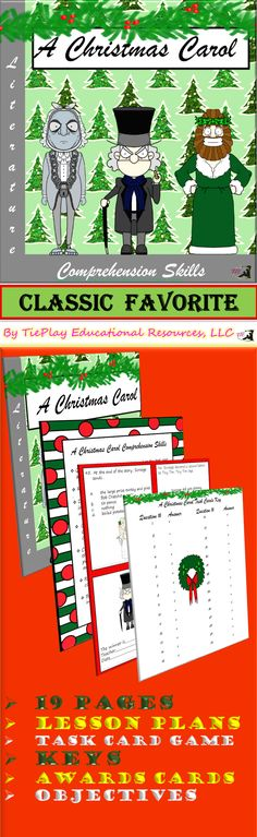 Price $4.75 Bah! Humbug? In A Christmas Carol Comprehension Skills, learners answer 46 questions pertaining to the Charles Dickens famous classic novel. This resource includes: Lesso plans, 46 task cards, links to dramatic reading and literature, activities, vocabulary, quizzes, keys, and 2 awards cards.   A Christmas Carol Learning Game Board is sold separately.