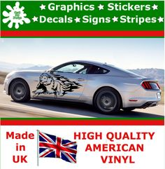 2 X Large Car Side Shark Flame Sticker Fire Graphic 4x4 Decal Vinyl