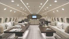 Private Jet Discover Inside the first ever Boeing 787 PRIVATE JET. that boasts a cinema The Dream Jet developed by US customisers Kestrel Aviation Management carries up to 40 passengers with a sprawling entertainment area office space and dining room. Jets Privés De Luxe, Luxury Jets, Luxury Private Jets, Private Plane, Arquitectura Wallpaper, Casa Magna, Boeing Business Jet, Private Jet Interior, Luxury Helicopter