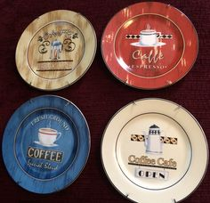 Set of 4 Coffee and Cafe Themed Decorative Plates with Hangers by Century & Set of 4 Coffee Theme Bean Ceramic Knobs Pull Kitchen Drawer Cabinet ...