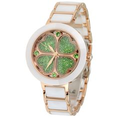 Lucky-Four-Leaf-Clover-Women-Ceramic-Bracelet-Watch