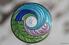 """Rare Antique Jugenstil Art Nouveau Sterling Silver Guillouche Enamel Cloisonne 6"""" Hatpin Hat Pin"""