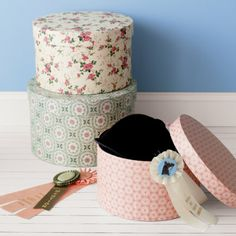Kids Printed Hat Boxes - Hat Boxes (set of 3) Small: 12