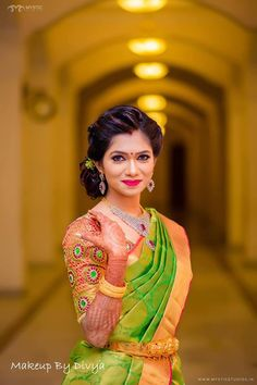 Ezwed has everything a South Indian bride needs to plan her Dream wedding! Wedding ideas,inspiration from Real weddings,Wedding Vendors,Wedding attire,etc. Bridal Blouse Designs, Saree Blouse Designs, Reception Sarees, Saree Hairstyles, Indian Wedding Hairstyles, Bridal Hairstyles, Bride Poses, Saree Wedding, Wedding Attire