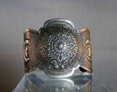 Vintage Mexican Silver Bracelet Repousse Cuff Bracelet Aztec Calender Eagle Warrior Design Possibly Marciel DanPickedMinerals