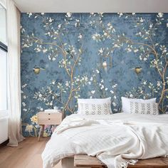 Chinoiserie Wallpaper Mural Peel and Stick Removable Wall Paper Birds Self Adhesive Accent Wall Trad
