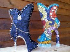 CINDERELLA'S ALTER EGO  Unique Mosaic Boot Sculpture by ShadesofJK, $985.00