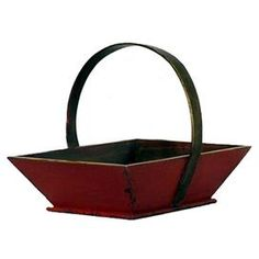 Handmade wood tray in distressed red.