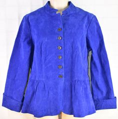 Ladies LIVE A LITTLE Blue Suede Jacket Size Large Washable