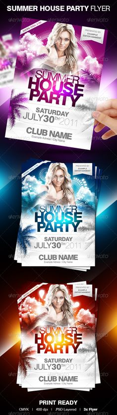 Summer House Party Flyer Template for a fresh flyer design in 3 different colors for a hot party or any other mainstream event.    You can modify everything very easy and quick. Changing the color style, pictures and the typo is no problem. It is well-assorted in folders and layers.$6