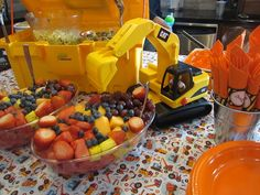 Fruit salad at a Construction Party #constructionparty #fruitsalad