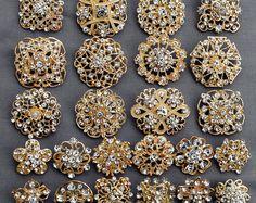 24 diamantes oro broche broche de cristal envío gratuito de 20.00 orden boda broche ramo pastel decoración DIY Kit BR680