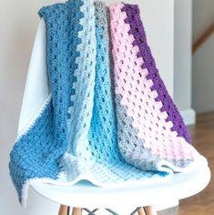 Granny Stitch Baby Blanket Pattern - EasyCrochet.com Granny Stripe Crochet, Crochet Waffle Stitch, Granny Pattern, Easy Crochet, Free Crochet, Crochet Ideas, Crochet Stitches For Beginners, Beginner Crochet Projects, Crochet Baby Blanket Free Pattern