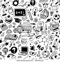 """Seamless Pattern With Hand-Drawn Doodles """"Back To School"""" Ilustración vectorial en stock 207941215 : Shutterstock Chalk Drawings, Doodle Drawings, Doodle Art, Doodle Background, Collage Background, Vector Background, Background Images, Graffiti Drawing, Graffiti Wall"""