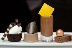 LOVE this playful presentation by Pastry Chef Antonio Bachour of Quattro Gastronomia. Chocolate four ways!