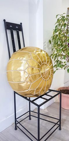 GOLD LEATHER POUF – Milsouls Moroccan Leather Pouf, Moroccan Pouf, Things I Need To Buy, Leather Ottoman, Gold Leather, Decorating Your Home, Outdoor Spaces, Sweet Home