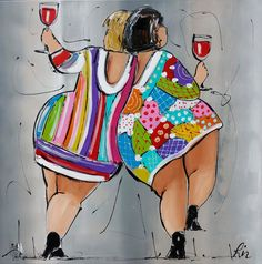 two fat ladies by Schilderij van Liz (Paintings by Liz: <Corrie Leushuis and Renate Rolefes> Ootmarsum, Holland)