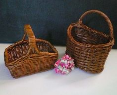 Set of Two Miniature Wicker Baskets for Dolls by #VintageReinvented,