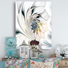 Design Art White Stained Glass Floral Wall Art Canvas, 30 White Wall Clocks, White Wall Decor, White Home Decor, Wall Art Decor, White Canvas Art, White Throw Pillows, Floral Wall Art, Glass Wall Art, Modern Glass