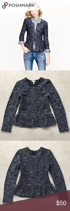 || J. Crew || Boucle Peplum Jacket Navy Tweed •J. Crew• <Boucle Peplum Jacket>  The look of tweedy, tailored bouclé meets the plush softness of a knit. Ultra-flattering, it's structured yet stretchy, thanks to a two-in-one fabric designed just for us. It's a design team favorite and it's easy to see why with pretty details like a slightly poufed peplum-style waistline.  Size: XS  {In great condition, worn lightly just a few times} J. Crew Jackets & Coats