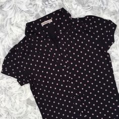 ❣Final Sale Price❣Polka Dot Top Black collared top from forever 21 with light purple(almost grey) polka dots. In good condition, a little light fade to it but still looks great under tees and tucked into a skirt   Final price, bundle for discount   No trades No ️aypal Merc ✅Posh Rules ✅Use Offer Button ✅Bundle for 15% off  Instagram @BeThriftyChic Forever 21 Tops Tees - Short Sleeve