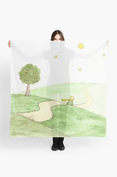 """""""The Little Prince"""" Scarf by Savousepate on Redbubble #scarf #watercolor #painting #watercolorpainting #green #white"""