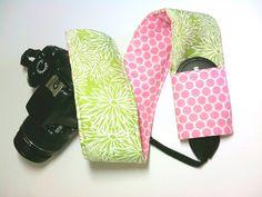 Dslr Camera Strap Slipcover with Lens Pocket  Pink by KallieLilyS, $18.00