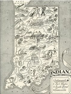 vintage indiana map