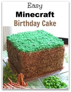 Minecraft Birthday Cake - How to make this Minecraft Birthday Grass Block Cake. Mine Craft is all the rage right now, this is perfect for you Mine Craft themed birthday party! Minecraft Party, Pastel Minecraft, Minecraft World, Bolo Minecraft, Minecraft Birthday Cake, Easy Minecraft Cake, Minecraft Crafts, Cake Birthday, Minecraft Skins