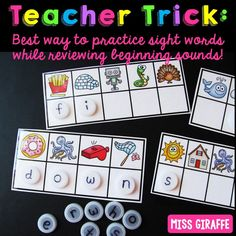 Sight words first grade trick to practicing beginning sounds and high frequency words at the same time and in such a fun way! Pre K Activities, Sight Word Activities, Phonics Activities, Craft Activities For Kids, Listening Activities, Beginning Reading, Beginning Sounds, 2nd Grade Reading, Guided Reading