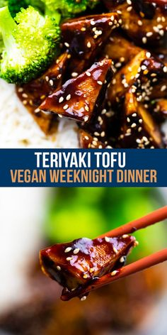 Sweet, tangy, and full of umami, this teriyaki tofu is a delicious vegan weeknight dinner option! Seared until golden, then smothered in an irresistibly sticky sauce, this tofu is hard to beat. Salad Recipes Low Carb, Best Lunch Recipes, Tofu Recipes, Vitamix Recipes, Amazing Recipes, Healthy Recipes, Vegetarian Meal Prep, Vegetarian Recipes, Atkins Recipes