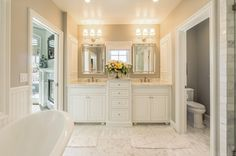 Master Bath, marble, white cabinets, gorgeous!